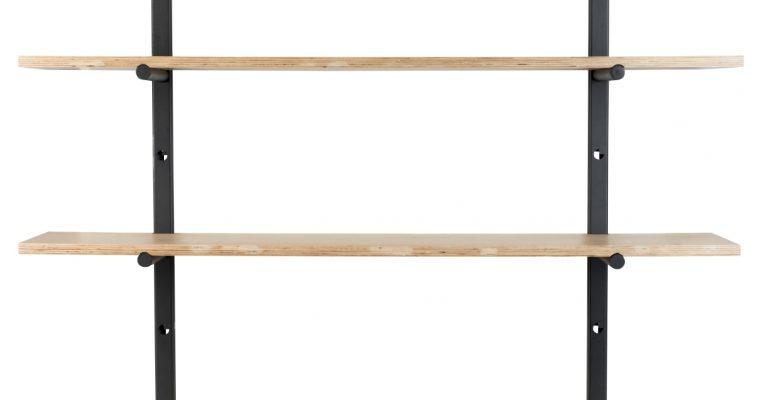 Zuiver Bundy Wandplanken Kast – B115 X D22 X H90 Cm – Hout En Zwart Metaal | 8718548057470