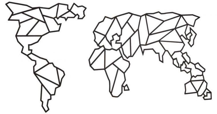 Wanddecoratie Wereld Zwart