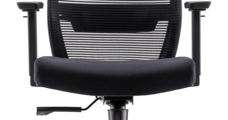 24Designs First ECO-2 Bureaustoel – Zwarte Stof/Mesh – Zwarte Kruispoot Met Wielen | 8720289853754