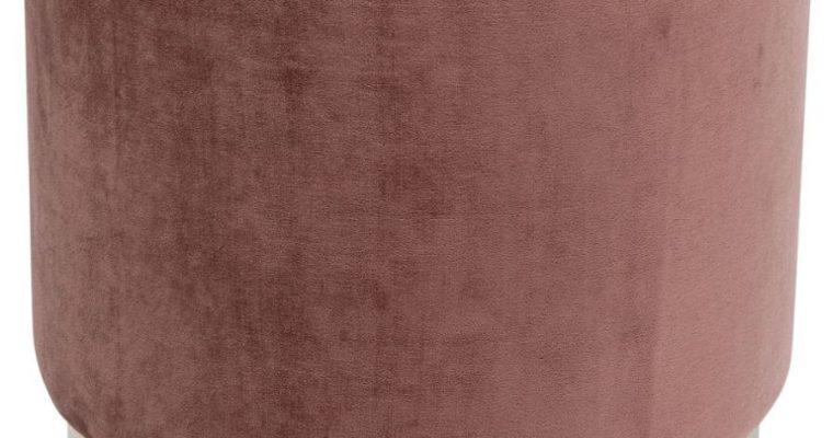 Kare Design Cherry Poef -Ø45×48 – Roze Fluweel – Messing  