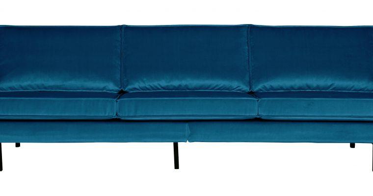 BePureHome Bank 3-zits 'Rodeo' Velvet, kleur Blauw   8714713065769