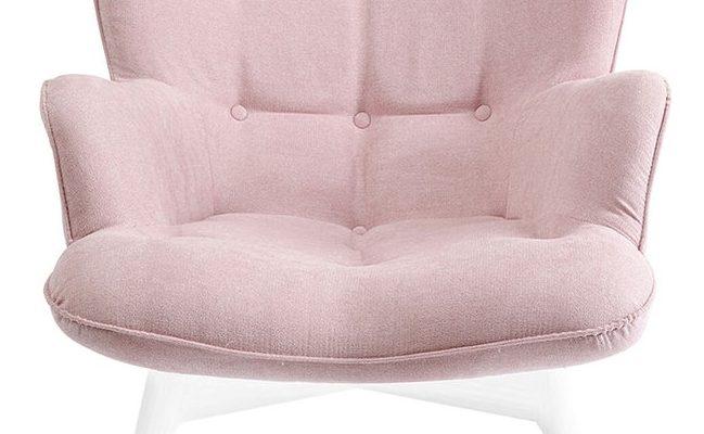 Kare Design Fauteuil Vicky – Stof Roze – Witte Houten Poten   4025621859376