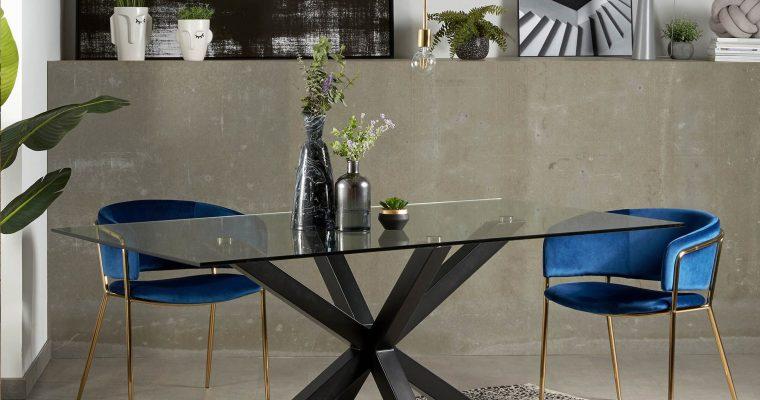 Kave Home Glazen eettafel 'Argo' met zwart onderstel, 200 x 100cm | 8433840272566