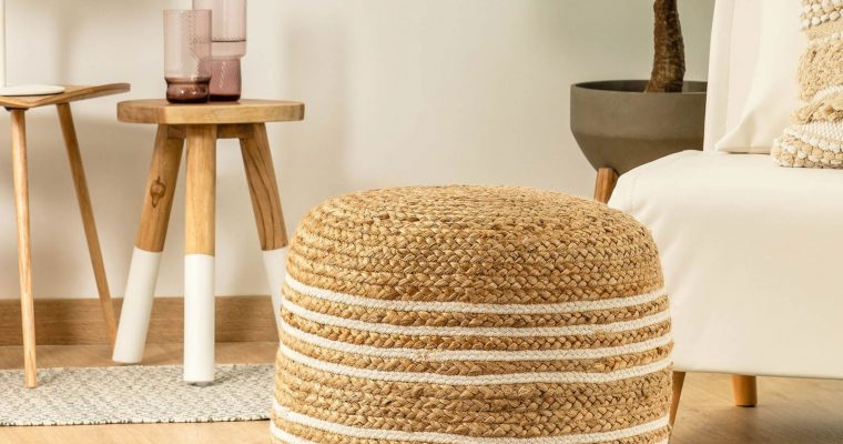 Kave Home Poef 'Saht' 45cm, kleur Naturel/Wit | 8433840419848