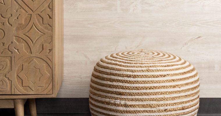 Kave Home Poef 'Saht' 50cm, kleur Naturel/Wit | 8433840419985