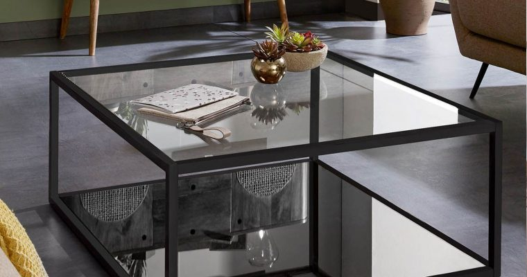 Kave Home Salontafel 'Blackhill' Glas met zwart frame, 80 x 80cm   8433840271507