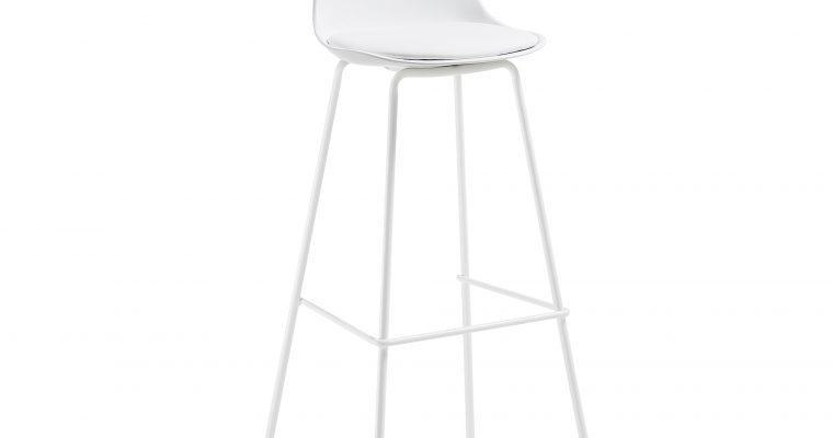 Kave Home barkruk 'Brighter' (zithoogte 75cm), kleur wit | 8433840422961