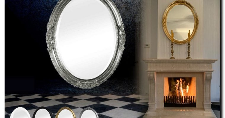 Spiegel Ovaal met ornament Agnese | Barokspiegel.nl