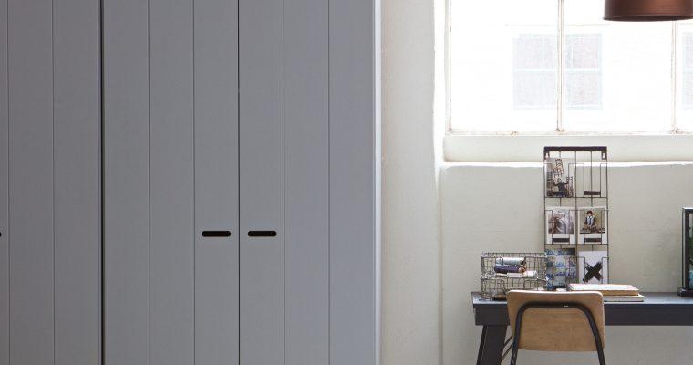 WOOOD Kledingkast 'Connect' 2 deuren en 2 laden, kleur betongrijs | 8714713054442