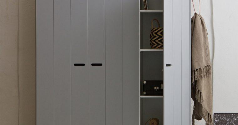WOOOD Kledingkast 'Connect' 3 deuren en 3 laden, kleur betongrijs | 8714713054459