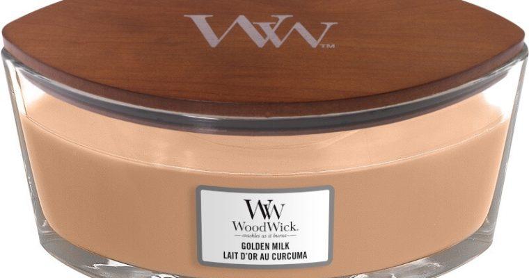 Woodwick Golden Milk ellips kaars | 1647908E | Woodwick