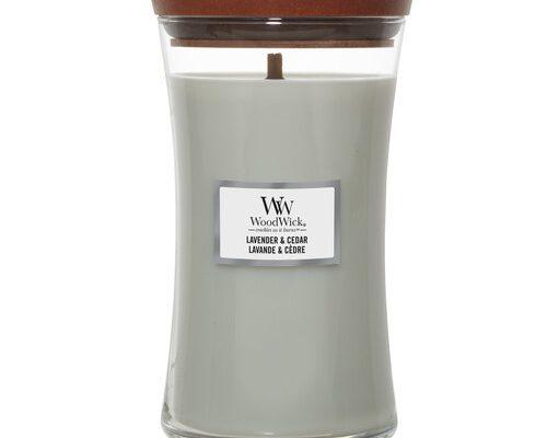 Woodwick Lavender en Cedar kaars groot | 1666272E | Woodwick