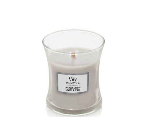 Woodwick Lavender en Cedar kaars klein | 1666278E | Woodwick