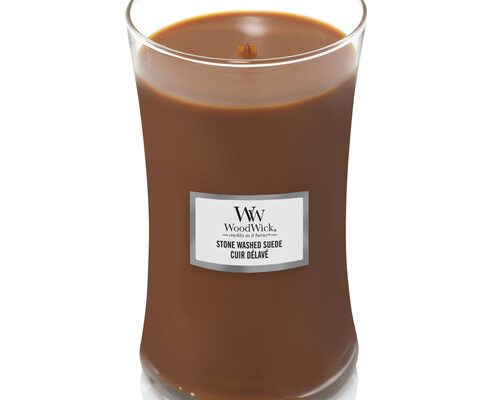 Woodwick Stone Washed Suede kaars groot | 1666273E | Woodwick