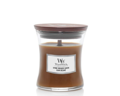 Woodwick Stone Washed Suede kaars klein   1666279E   Woodwick